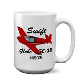 Globe / Temco Swift GC-1B Airplane Ceramic Mug - Personalized w/ N#
