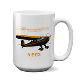 Monocoupe 90AL (Black/Orange) Airplane Ceramic Mug - Personalized w/ N#