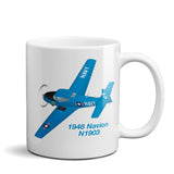 1948 Ryan Navion B (Blue) Airplane Ceramic Mug - Personalized w/ N#