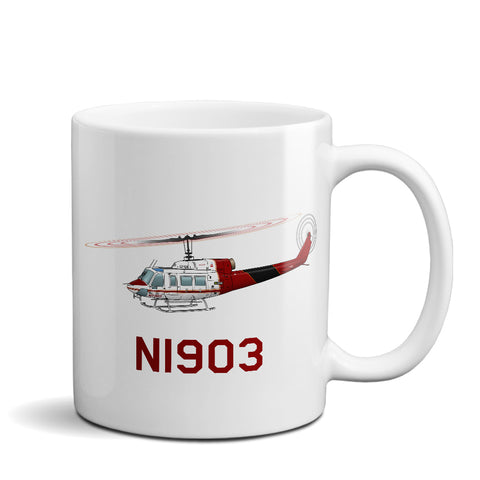 Helicopter Ceramic Custom Mug HELI25C214-BR1 - Personalized w/ your N#