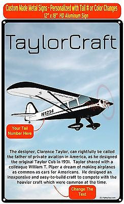 Taylorcraft F-21B HD Metal Airplane Sign - Add Your N# - Black/White