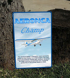 Aeronca Champ HD Metal Airplane Sign - Blue