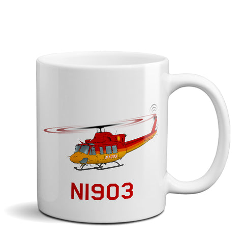 Helicopter Ceramic Custom Mug HELI25C412-RG1 - Personalized w/ your N#