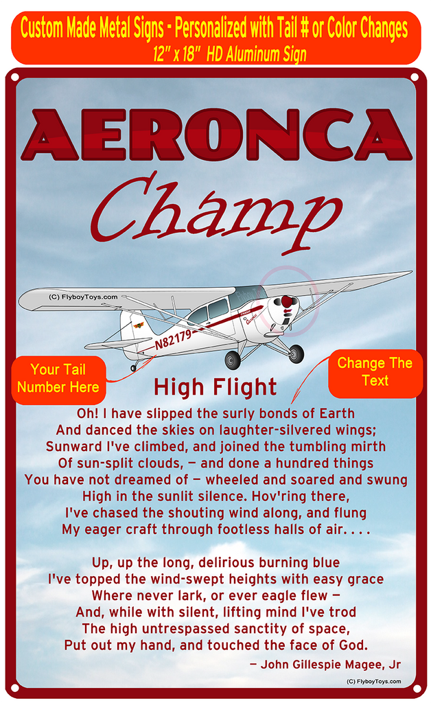 Aeronca Champ (Red#2) High Flight Poem HD Metal Airplane Sign
