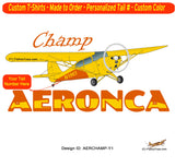 Aeronca Champ (Yellow) Airplane T-shirt- Personalized with N#