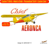 Aeronca Chief (Yellow) Airplane T-shirt - Personalized with N#