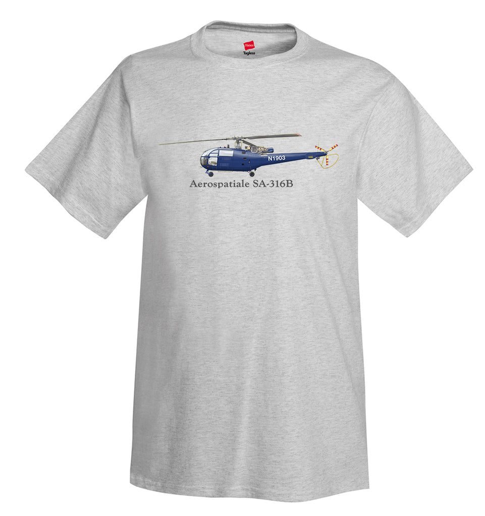 Aérospatiale SA-316B Helicopter T-Shirt - Personalized with Your N#