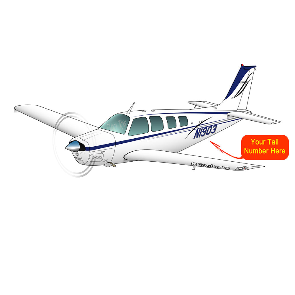 Beechcraft Bonanza A36 Blue Black Silver