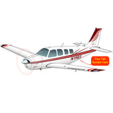 Beechcraft Bonanza A36 Burgundy Red