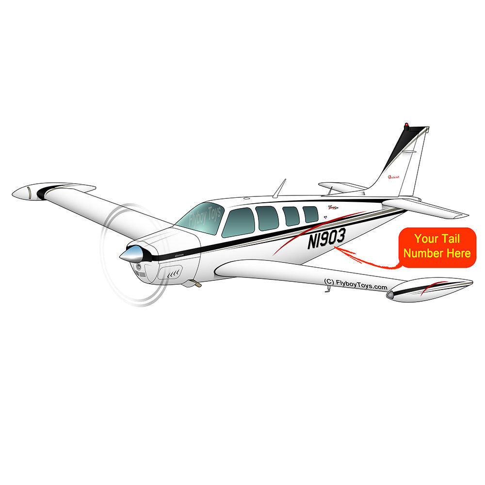 Beechcraft Bonanza A36 Black Silver Red