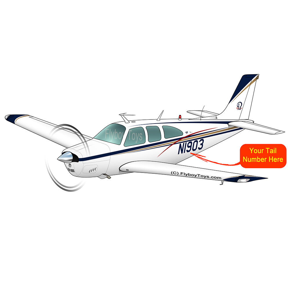 Beechcraft Bonanza E33A Blue Red Gold