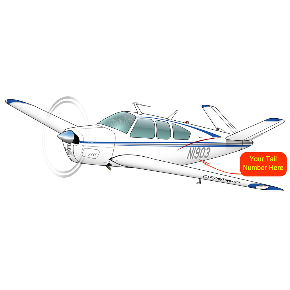 Beechcraft Bonanza V35A Blue Silver Red
