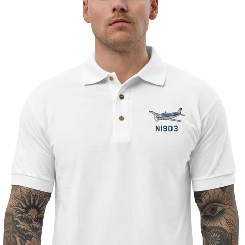 Airplane Embroidered Polo Shirt -AIR255452-BR1_EMB - Personalized with Your N#