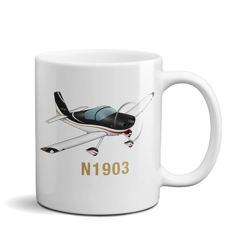 Airplane Ceramic Custom Mug AIRM1EIM9A-BR1 - Personalized w/ your N#