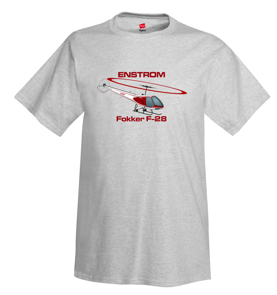 Enstrom Fokker F-28 Helicopter T-Shirt - Personalized with Your N#