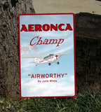Aeronca Champ (Red#2) HD Metal Airplane Sign - Airworthy