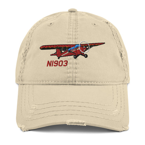 Airplane Embroidered Distressed Cap (AIRJ5I3817EC-RB1) - Personalized with Your N#