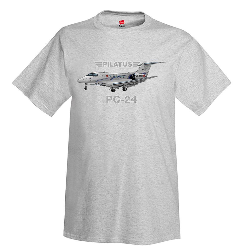 Pilatus PC-24 (Silver) Airplane T-Shirt - Personalized w/ Your N#