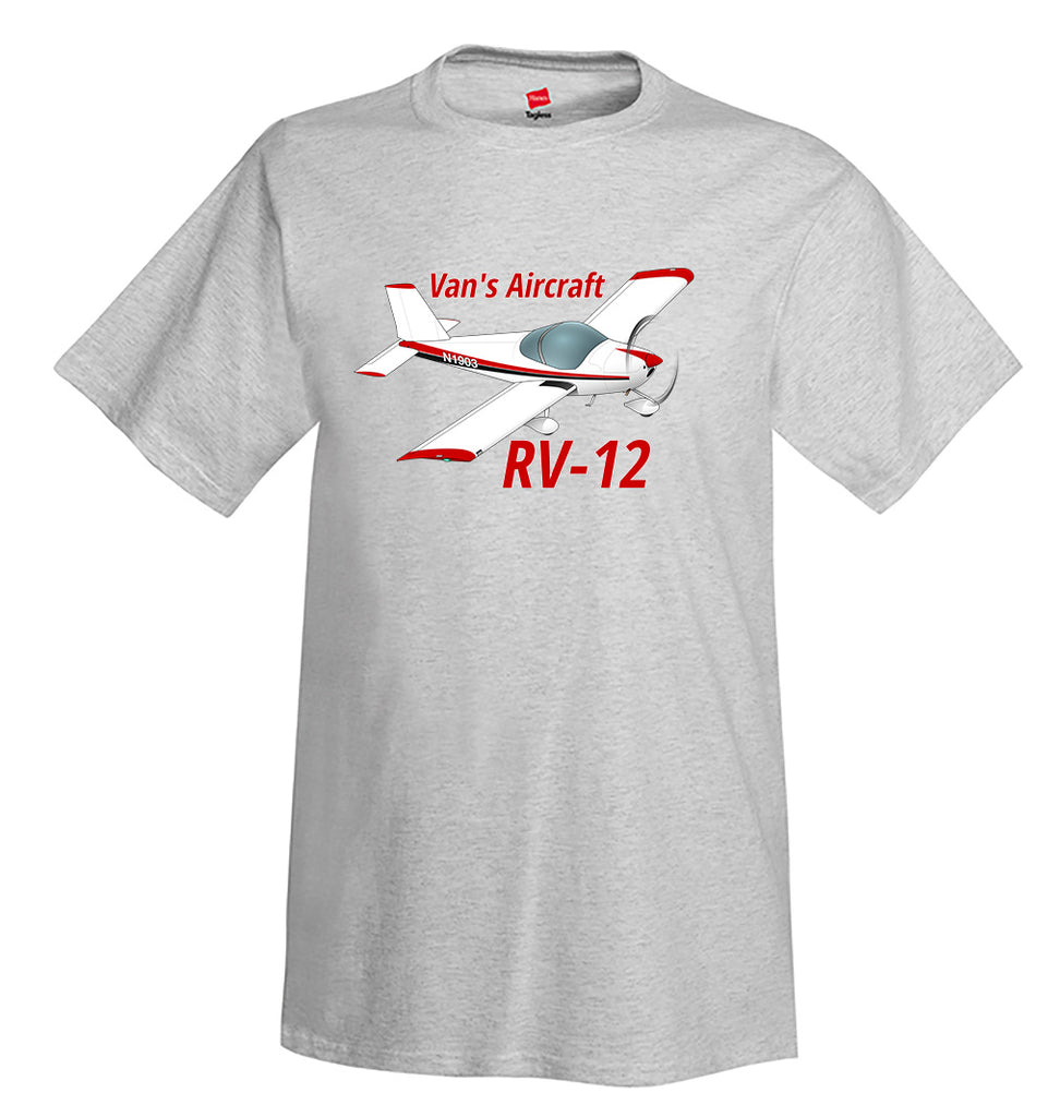 Van's Aircraft RV-12 (Red/Black) Airplane T-Shirt - Personalized w/ Your N#