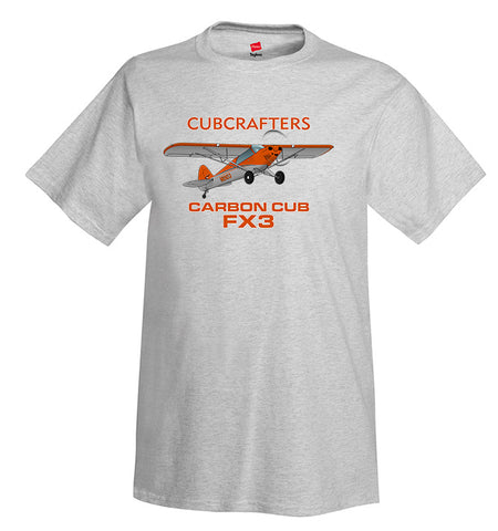 Cubcrafters Carbon Cub FX3 (Orange) Airplane T-Shirt - Personalized w/ Your N#