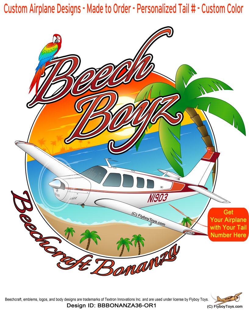 Beech Boyz Beechcraft Bonanza A36 (Orange/Red) Airplane Design