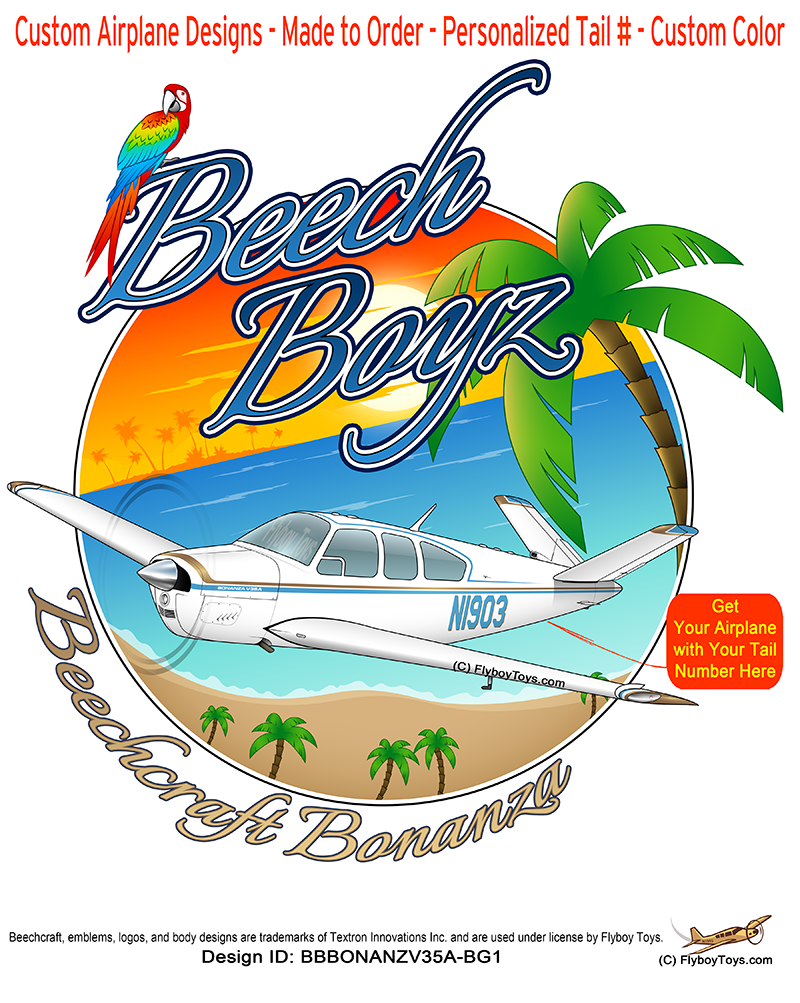 Beech Boyz Bonanza V35A (Blue/Gold) Airplane Theme
