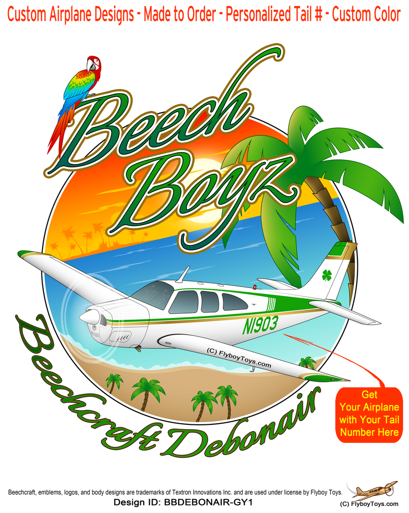 Beech Boyz Beechcraft Debonair (Green/Yellow Gold) Airplane Design