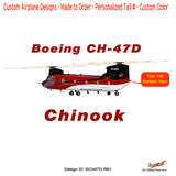 Boeing CH-47D Chinook (Red/Black) Helicopter T-shirt - Personalized with Your N#
