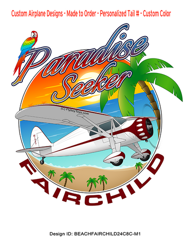 1934 Fairchild 24 C8C (Maroon) Paradise Seeker  Airplane Design