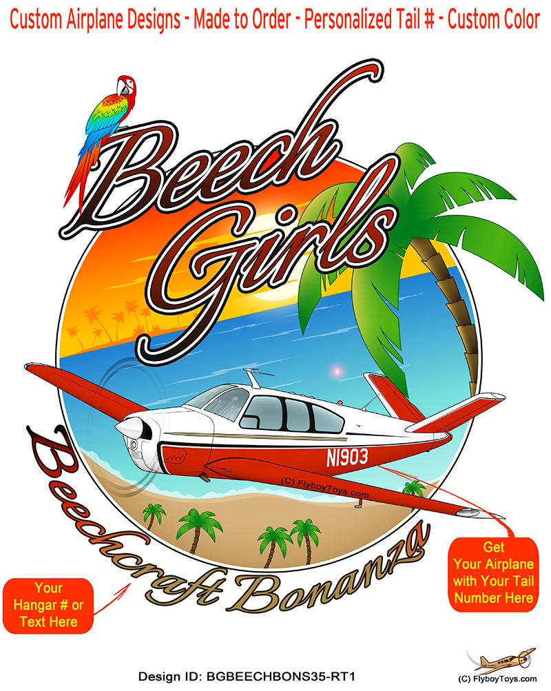Beech Girls Beechcraft Bonanza S35 (Red/Tan) Airplane Theme