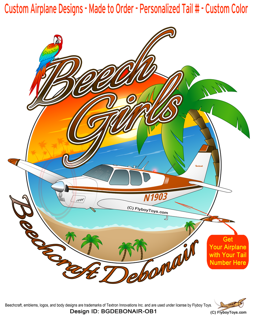 Beech Girls Beechcraft Debonair (Orange/Brown) Airplane Theme