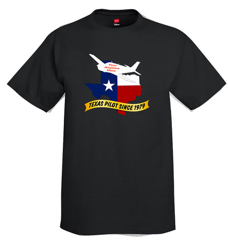 Texas Pilot Theme Custom T-shirt - Personalized w/ Your Airplane