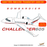 Bombardier Challenger 605 Airplane T-shirt- Personalized with N#