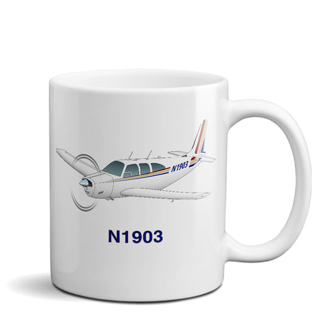Airplane Ceramic Custom Mug AIR2552FEE33-RT1  - Personalized w/ your N#