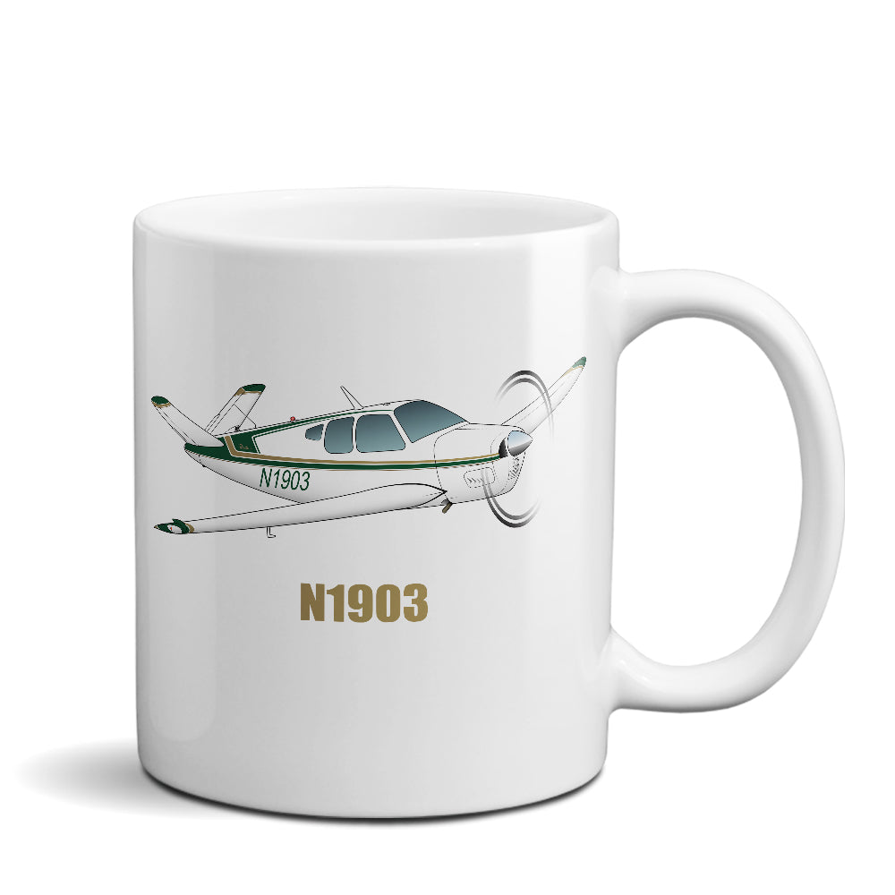 Airplane Ceramic Custom Mug AIR2552FEG35-G1 - Personalized w/ your N#