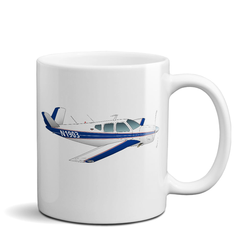 Airplane Ceramic Custom Mug AIR2552FEH35-B1 - Personalized w/ your N#