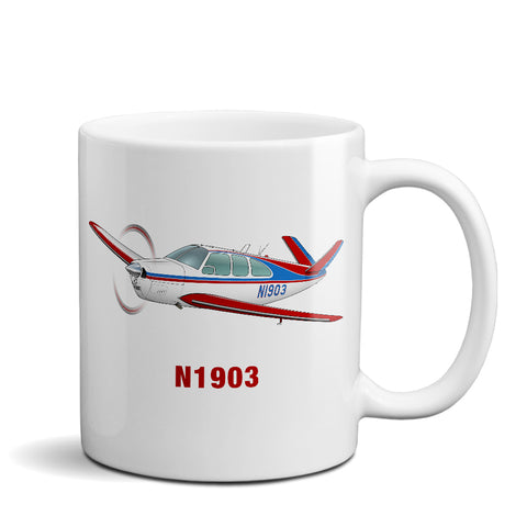 Airplane Ceramic Custom Mug AIR2552FEN35-RB1 - Personalized w/ your N#
