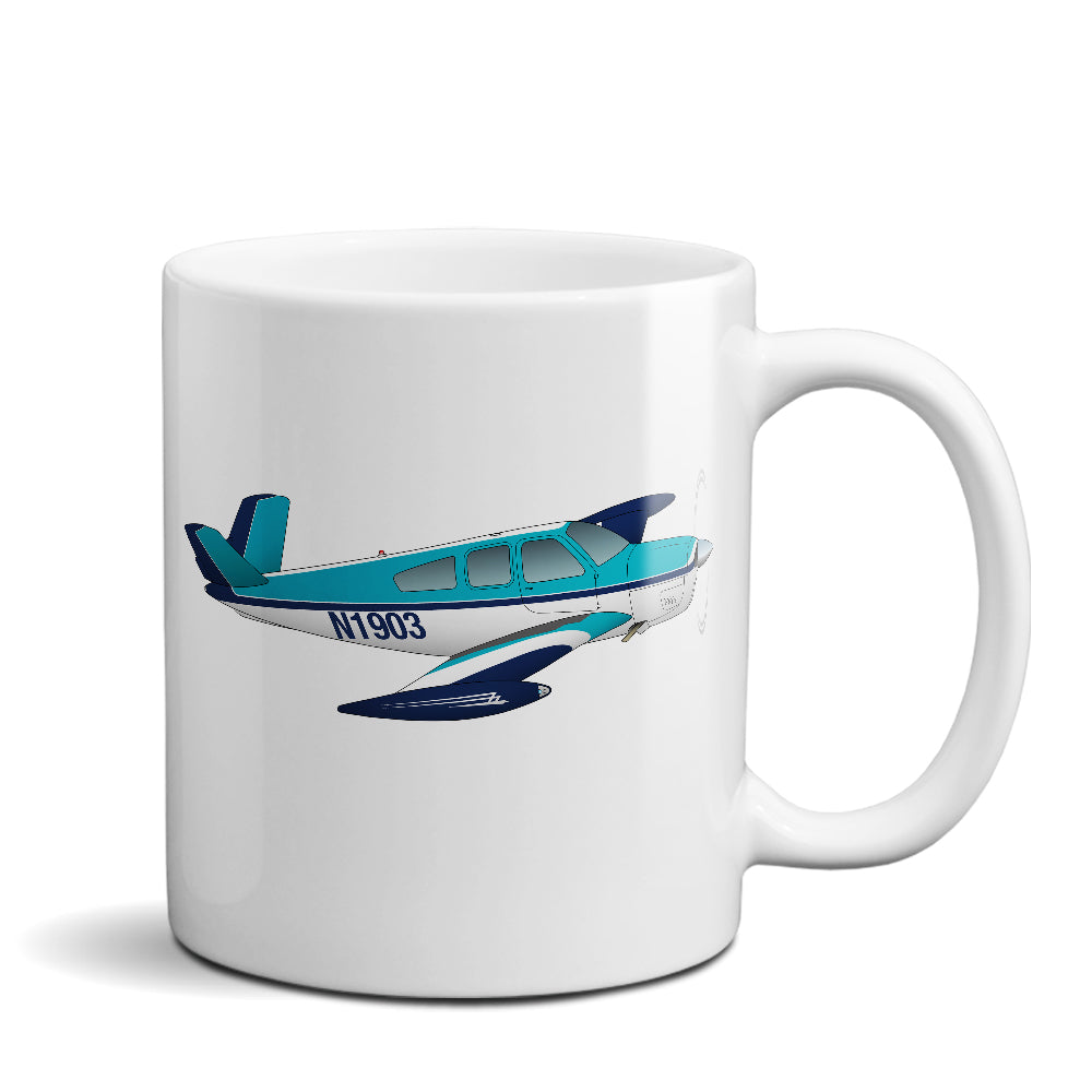 Airplane Ceramic Custom Mug AIR2552FES35-TB1 - Personalized w/ your N#