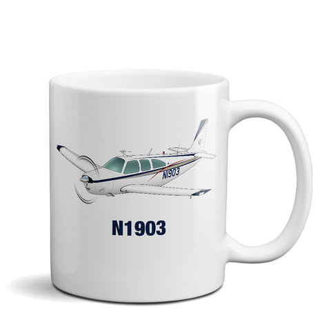 Airplane Ceramic Custom Mug AIR2552FEE33A-BRG1  - Personalized w/ your N#