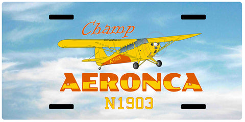 Aeronca Champ (Yellow) Airplane License Metal Plate - Add Your N#