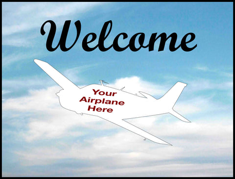 Custom Welcome Aircraft Aviation Mats - Personalized w/ Your Airplane