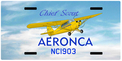 Aeronca 11ACS Chief Scout Airplane License Metal Plate - Add Your N#