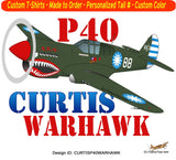 Curtis P-40 Warhawk Airplane T-shirt- Personalized with N#