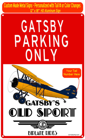 Curtis Wright Travel Air 4000 (Blue/Yellow) Custom HD Metal Airplane Sign