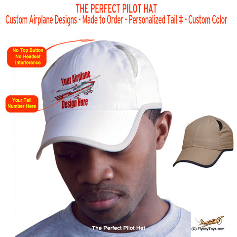 "Custom Hat - The Perfect ""No Button"" Pilot Hat / Cap"