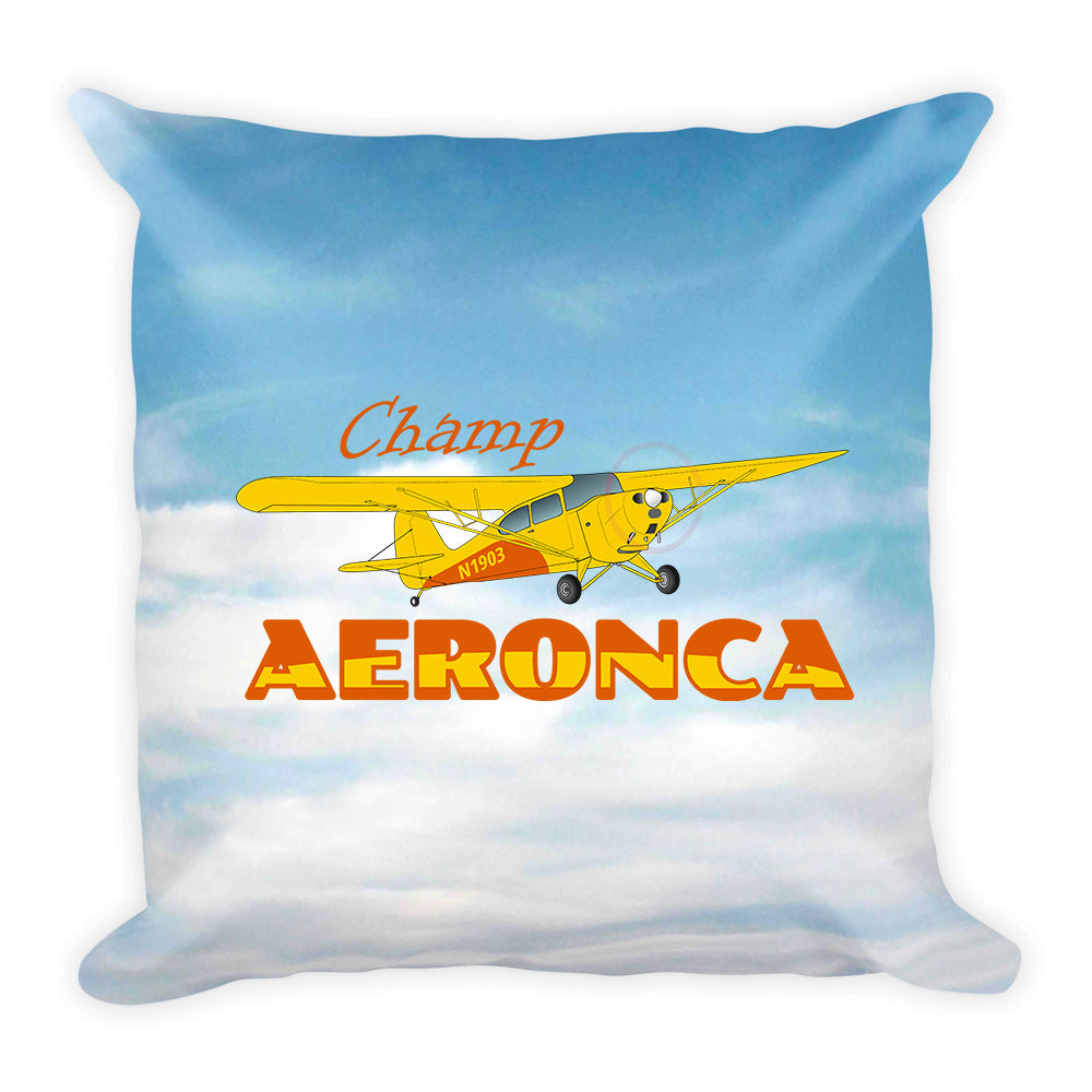 Aeronca Champ (Yellow) Airplane Custom Throw Pillow Case Stuffed & Sewn