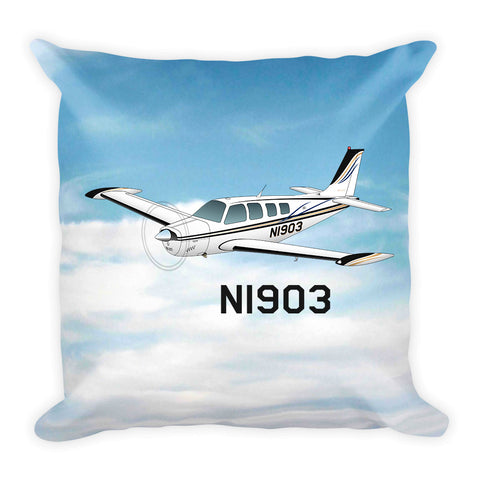 Airplane Custom Throw Pillow Case Stuffed & Sewn - AIR2552FEA36-BLK1