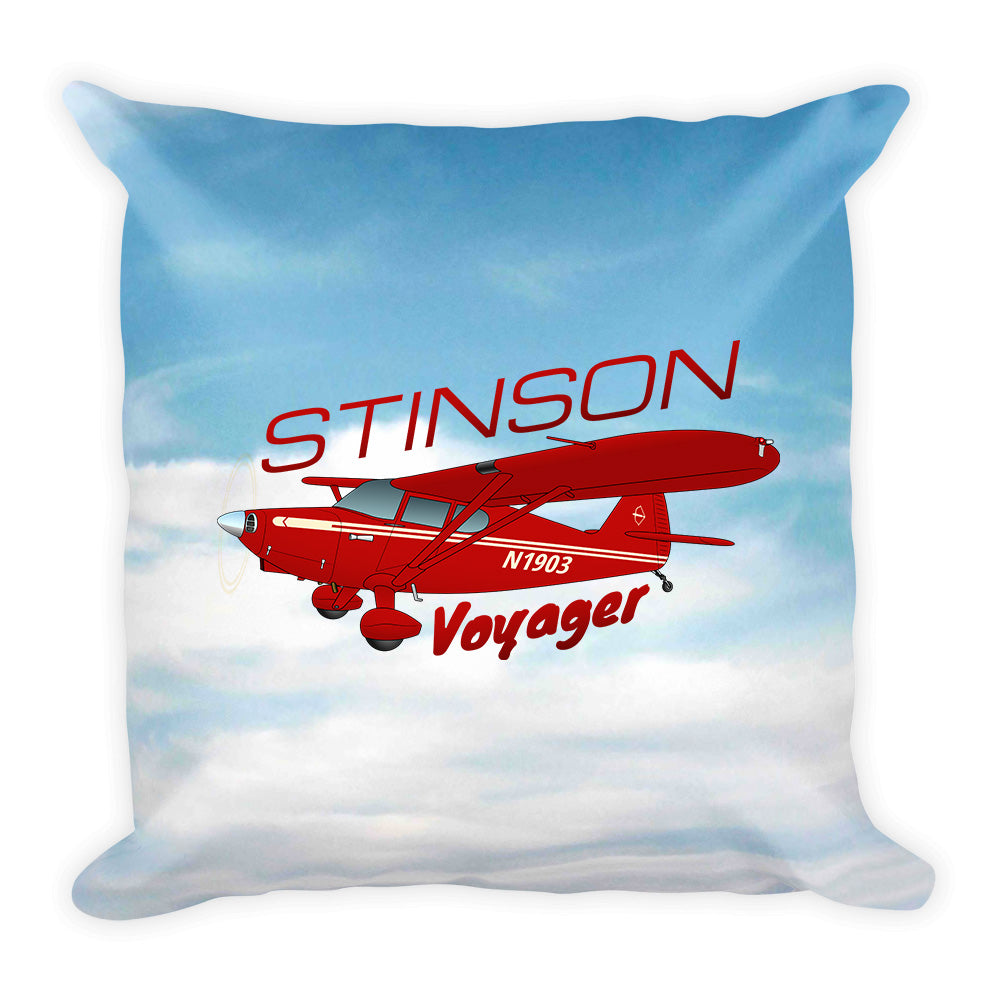 Stinson Voyager (Red#4) Airplane Custom Throw Pillow Case Stuffed & Sewn