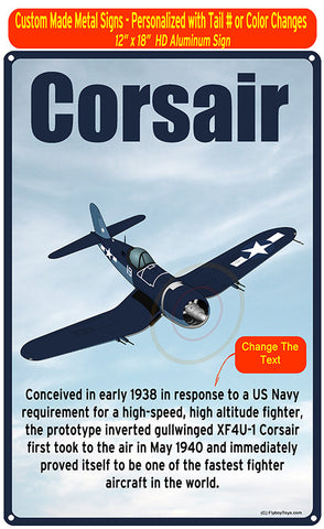 Goodyear/Chance-Vought FG-1D Corsair (Blue) HD Metal Airplane Sign