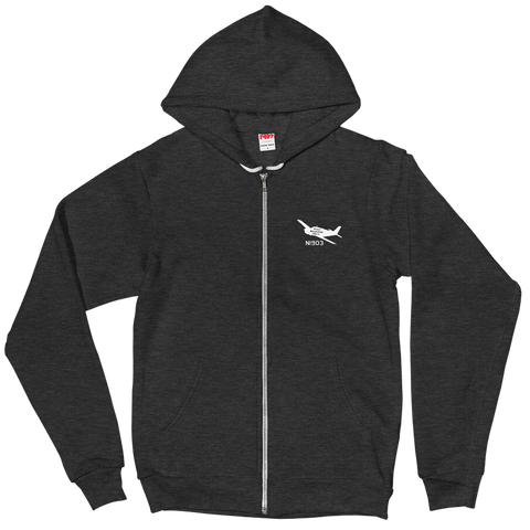 Custom American Apparel Zip Hoodie - Personalized w/ your Airplane Aircraft